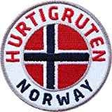 Club of Heroes 2 x Hurtigruten Norway Abzeichen 60 mm gestickt/Norwegen Postschiff Fjorde/Aufnäher Aufbügler Sticker Wappen Patches für Kleidung Rucksack/Reiseführer Flagge Fahne...