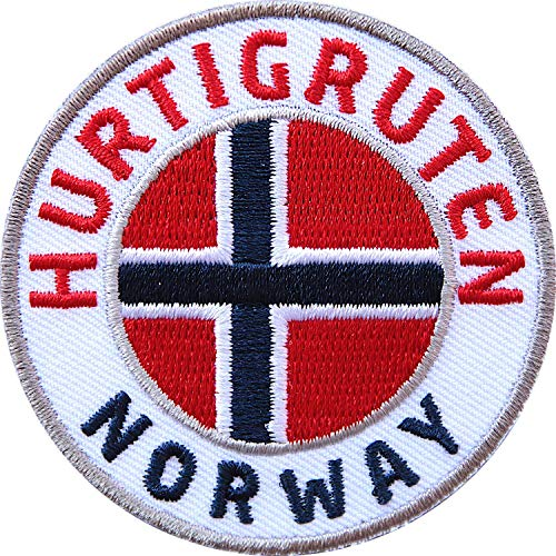Club of Heroes 2 x Hurtigruten Norway Abzeichen 60 mm gestickt/Norwegen Postschiff Fjorde/Aufnäher Aufbügler Sticker Wappen Patches für Kleidung Rucksack/Reiseführer Flagge Fahne Skandinavien