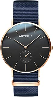 Artemis Wrist Wear Classic Men's Watches   40 MM Men's Analog Minimalist Wrist Watch (Black   Blue Nylon)