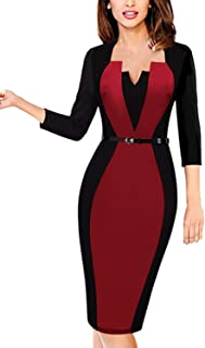 Babyonline Women's 1950s 3/4 Sleeve Slim Bodycon Business Pencil Dress With Belt