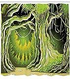 N\A Neverland Duschvorhang, Zauberwald mit Feenbaum in der Wald Halloween Halloween Naturlandschaft, Stoff Stoff Badezimmer Dekor Set mit Haken Oliv & Limonengrün