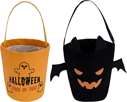 Halloween Trick or Treat Bag, Pumpkin Candy Buckets, Handle Gift Storage Barrel Bag, Best Halloween Party Gifts for Kids