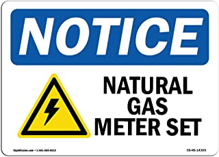 OSHA Notice Sign - Natural Gas Meter Set | Rigid Plastic Sign | Protect Your Business, Construction Site, Warehouse & Shop Area |  Made in the USA