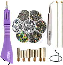 Hotfix Applicator Hot Fix Rhinestone Applicator Wand Setter Tool Kit with 7 Different Sizes Tips and Support Stand, Tweezers & 2 Pencils and 1Pack Hot-Fix Crystal Rhinestones (3000 Stones)