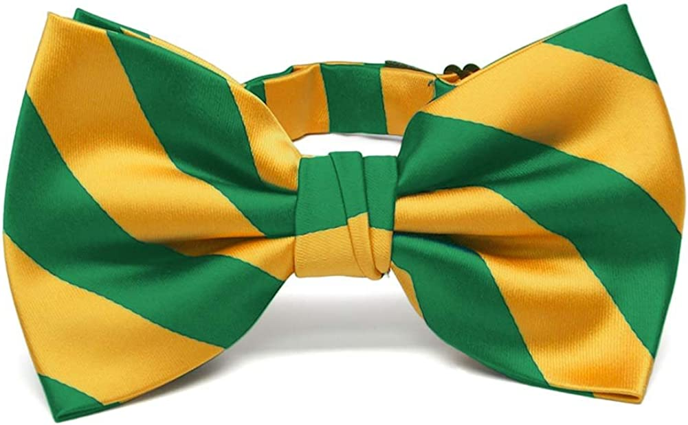 TieMart Kelly Green and Golden Yellow Striped Bow Tie