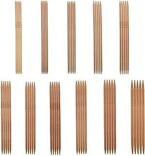 55Pcs Bamboo Knitting Needles Set Agujas de tejer de doble punta 11 Tamaños de 2.0mm-5.0mm, 5.1In Longitud, Ideal para calcetines, guantes, sombreros y bufandas
