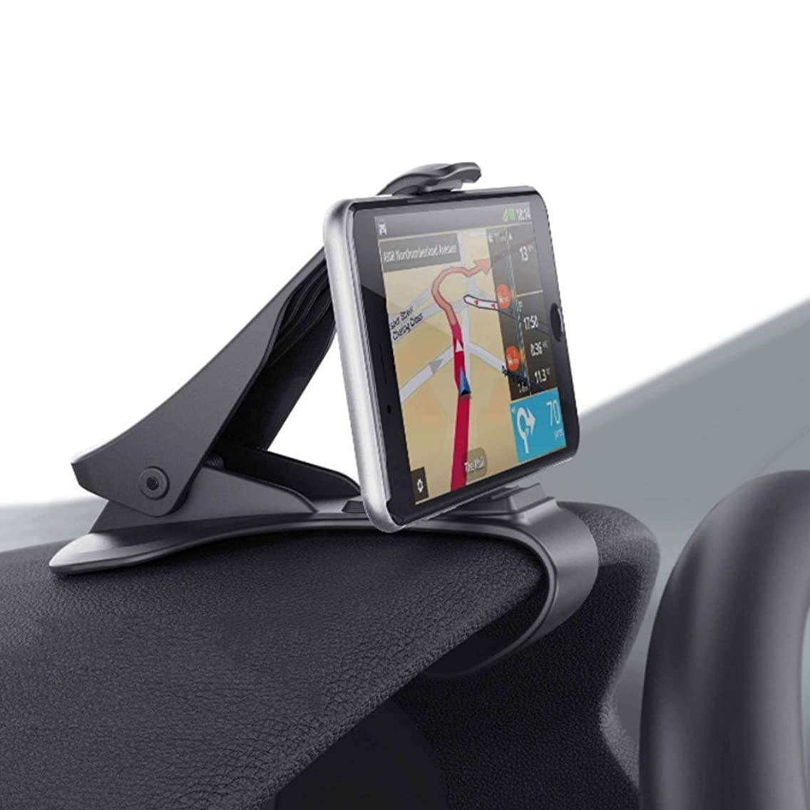 Smartphone Car Mount, HUD Simulating Atex Design Phone Crocs Jaw Dashboard Clip Holder Cradle Phone Safe Driving for i Phone X, 8, 7 Plus Samsung S10,9,8 Other Devices < 6.5'' Screen