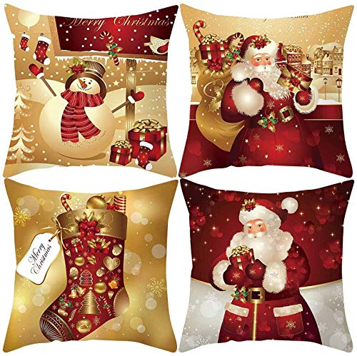 ZGYQGOO 4pcs Cushion Covers, Christmas Decorative Throw Pillow Case Snowman Pillow Covers for Sofa Couch Home Décor Xmas Gifts New Year Party