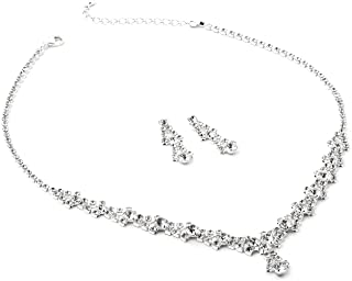 Topwholesalejewel Silver Crystal Rhinestone and Crystal Circle Stones NecklaceMatching Dangle Earrings Jewelry Set