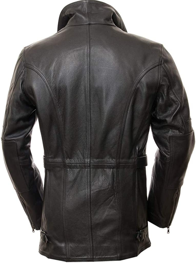 JUFAH Stylish Designer Coat for Men Genuine Leather Jacket Waist Belted Long Coat Biker Black Extra Plus Size