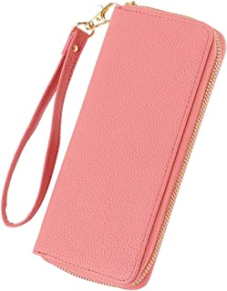XHHWZB Long Wallet Single Zipper Long Ladies Wallet with Hand Rope Evening Bag Clutch Bag, Lychee Pattern