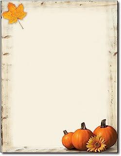Pumpkin Sunflower Premium Fall Letterhead Paper - 80 Sheets