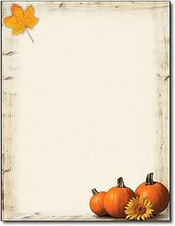 Pumpkin Sunflower Fall Letterhead Paper - 80 Sheets