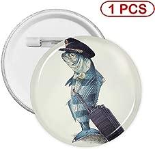 Kuyanasfk Round Button Pins Badge The Pilot Funny Fish Plane Captain Boys Girls Women Men Backs Gifts Birthday Party Favors Supplies 1 PCS
