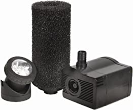 Beckett Corporation 450 GPH Submersible Fountain and Pond Pump with LED Light - Pump for Indoor/Outdoor Ponds, Fountains, Water Gardens, Aquariums, and Medium Waterfalls, 8' Max Fountain Height, Black