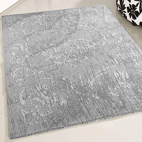 mynes Home Teppich Designer Kelim Kilim in Grau in versch. Größen rutschfest waschbar für Bad Flur Küche Badteppich (120cm x 170cm)