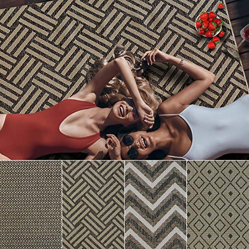 Outdoor Teppich Clyde für Terrasse und Balkon | wetterfester Sommerteppich für Ihren Garten | robustes Flachgewebe für außen und innen | modernes Design | Modell Hampton mit Korb Muster 200x290 cm