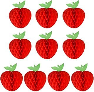 FEPITO 10 Pack 7 Inch Apple Tissue Honeycomb Hanging Red Paper Apple Decorations Fruit Decoration for Back to School, Baby Shower
