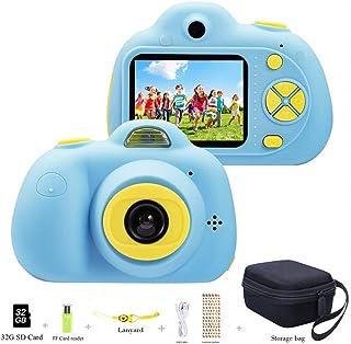 Cámara para niños ToyZoom Cámara de Fotos Digital 2 Objetivos Selfie 8MP Cámara Digital 1080P HD Videocámaras para Niños Niñas con Zoom Digital 4X Flash Lights 2 LCD Batería Recargable (Azul)