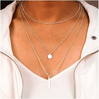Tgirls Simple Metal Bar Necklace with Pendant for Women and Girls XL-35 (Silver)