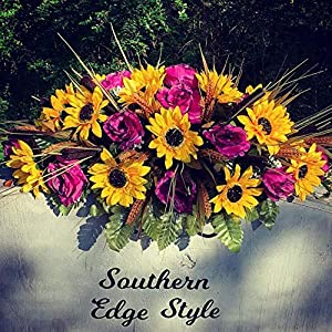 Cemetery Flowers, Headstone Saddle, 31 inch length saddle, Cemetery Saddle Fall Sunflowers, Purple Roses