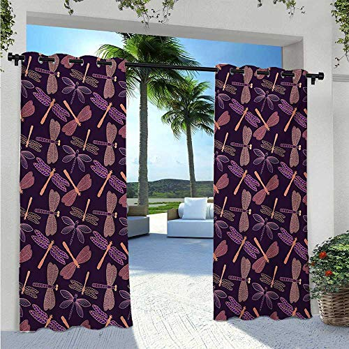 Print Curtains Girly Feminine Design with Stylized Vintage Vibrant Insect Animals Pattern Waterproof Sun Light Blocking Curtain Perfect for Sliding Door/Foyer/Arbor/Lanai Purple W96 x L84 Inch
