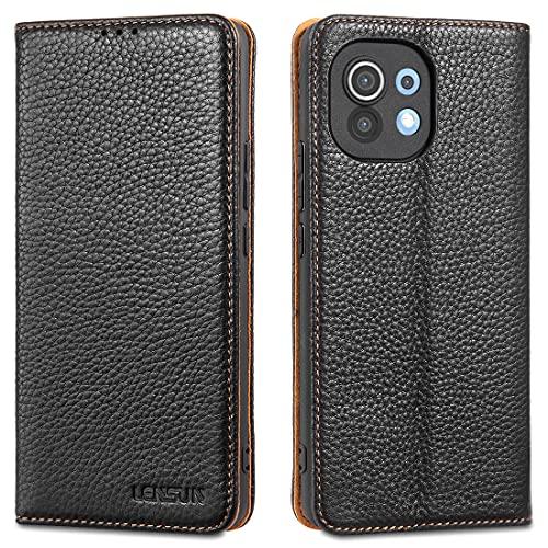 LENSUN Funda Xiaomi Mi 11 5G con Tapa, Funda de Cuero Genuino con Cierre Magnético y Ranuras para Tarjetas Carcasa Libro Protección para Teléfono Xiaomi Mi 11 - Negro (M11-DC-BK)