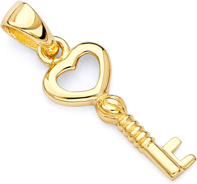 14k REAL Yellow Gold Tiny Key to My Heart Charm Pendant