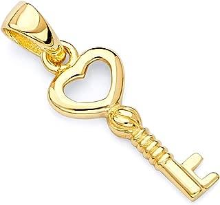 14k Yellow Gold Tiny Key to My Heart Charm Pendant