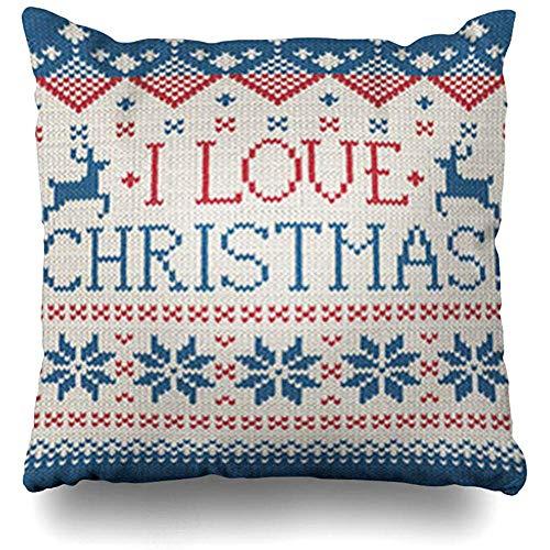 Fodere per cuscini da lancio Nordic Red Knit Love Christmas Feste scandinave a maglia vacanze svedesi Maglione Cervo invernale Federa 40 X 40 Cm Federa
