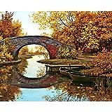 Zhxx Pintar Por Numeros Rotulador Otoño Puente Junto Al Lago Paisaje Lienzo Decoración De Boda Imagen Artística Regalo 40X50Cm Sin Marco