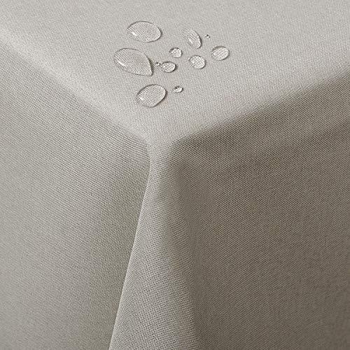 WOLTU TD3040hbr Tischdecke Tischtuch Leinendecke Leinen Optik Lotuseffekt Fleckschutz pflegeleicht abwaschbar schmutzabweisend Farbe & Größe wählbar Eckig 130x160 cm Hell Brau