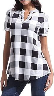Abetteric Women's Oversize Print Short Sleeve Plaid V-Neck Blouse Shirts