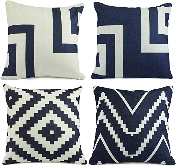 Hermosa Collection Geometric Decorative Throw Pillow Covers 4 Pc Set 18 X 18 Cotton Linen Squares Boho Neutral Colors Living Room Bedroom Patio Decor Couch Sofa And Bed Accessories