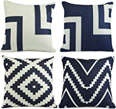 Hermosa Collection Geometric Decorative Premium Throw Pillow Covers (4 Pc. Set) 18 x 18 Cotton Linen Squares Boho Neutral Colors Living Room Bedroom Patio Decor Couch Sofa and Bed Accessories