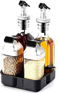 AZK AOZIKA-Ensemble Bouteilles Distributeur Vinaigre D'huile d'olive en Verre,Ensemble Bouteilles D'assaisonnement pour Sa...