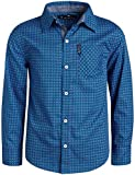 Ben Sherman Boys Long Sleeve Button Down Shirt (Blue-Black Circle Print, 14/16)'