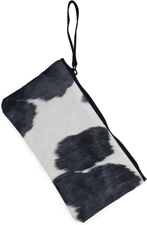 AORRUAM Black and white cowhide Canvas Coin Purse,Canvas Zipper Pencil Cases,Canvas Change Purse Pouch Mini Wallet Coin Bag