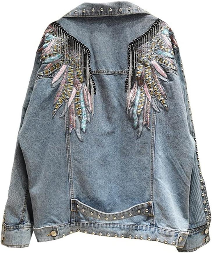 CDQYA Punk Rivet Blue Denim Jacket Women Metal Tassel Wings Embroidery Vintage Jeans Jackets Hipster Streetwear Hip Hop Slim Clothes (Color : Blue, Size : One Size)