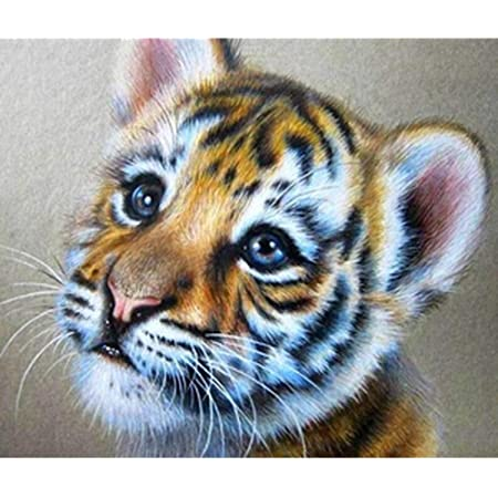5D DIY Full Drill Diamond Painting Small Tiger Cross Stitch Embroidery Kits  #Z