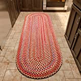 Super Area Rugs American Made Braided Rug for Indoor Outdoor Spaces Red/Natural Multi Colored , 2' X 4' Oval Runner