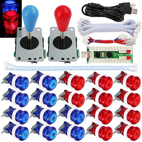 SJ@JX 2 Player Arcade Game Stick DIY Kit Buttons with Logo LED 8 Way Joystick USB Encoder Cable Controller for PC MAME Raspberry Pi Red Blue Iowa