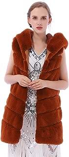 Women's Faux Fox Fur Vest Sleeveless Long Fur Jacket Waistcoat Warm Coat Outwear