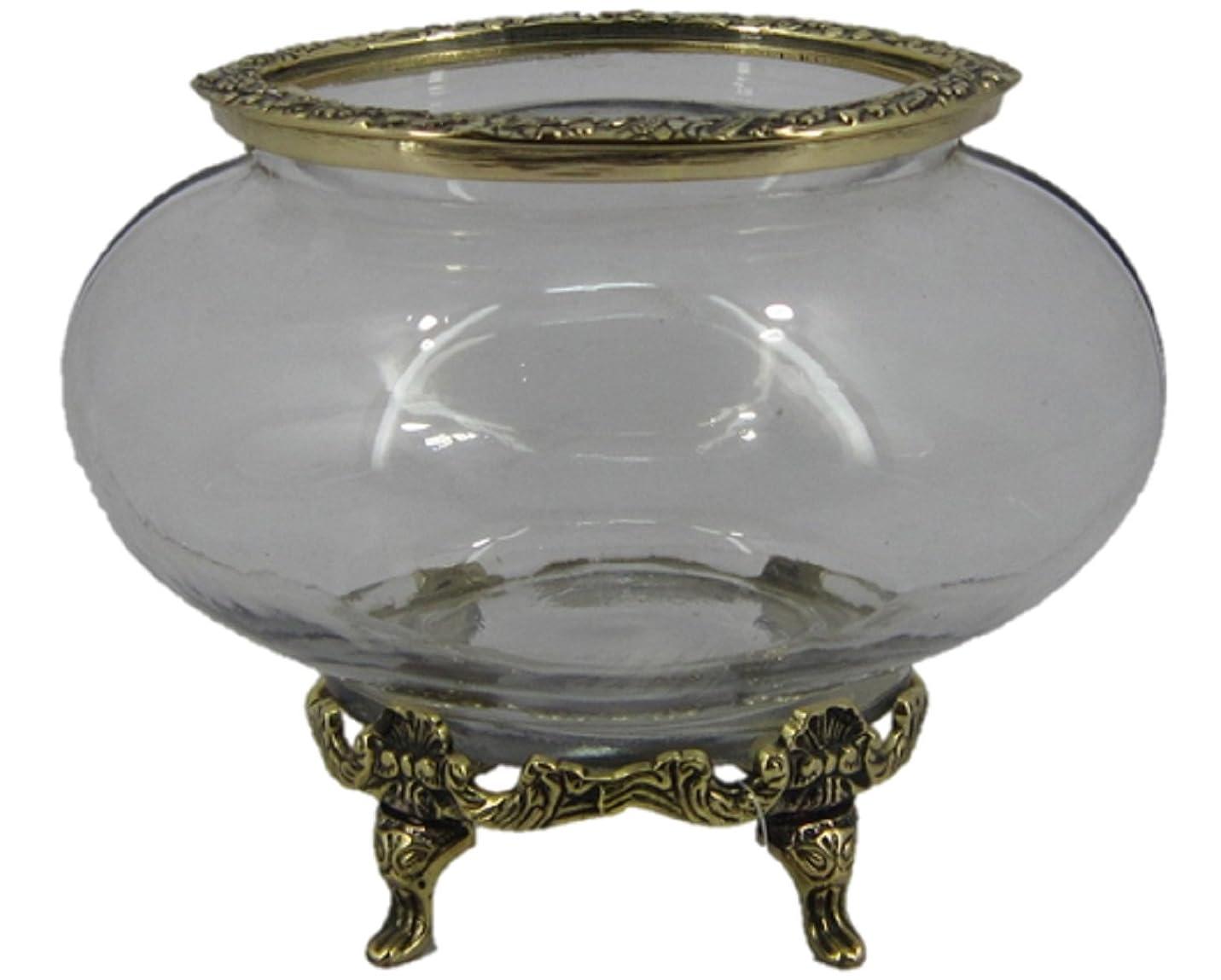 クラッシックインテリア☆花瓶☆ガラス+真鍮 60104OG