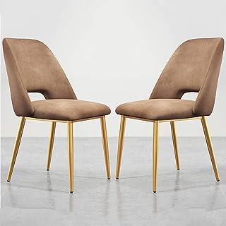 Zyy - Juego de 2 sillas de comedor con patas de metal dorado, asiento y respaldos de terciopelo, modernas sillas de cocina para el ocio, sala de estar, maquillaje y taburete, azul, Golden legs