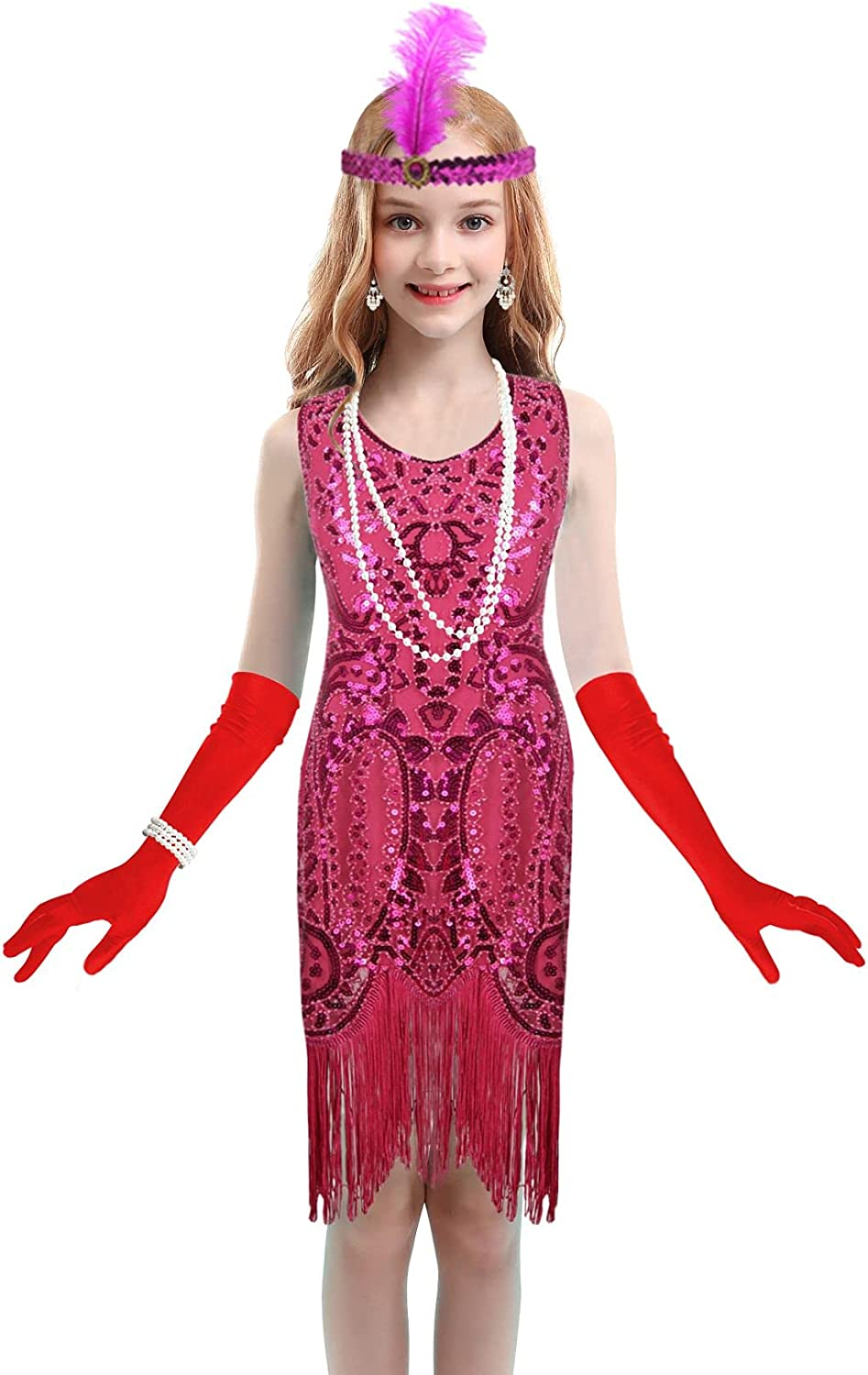 Girls 1920s Flapper Roaring 20s Sequin Hallow Dress Credence Dance Gatsby Max 53% OFF