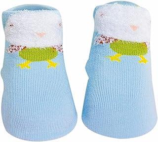 Akaddy, 1 par de calcetines de algodón para bebés recién nacidos Calcetines cortos de dibujos animados de primavera (azul claro)