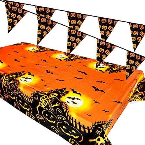 FLOFIA Kit Mantel de Halloween 137*274cm, Banderines Halloween 3.5m, Decoración de Mesa Halloween, 10pcs Banderas 20*30cm para Fiesta Halloween (Mantel + Banderin)