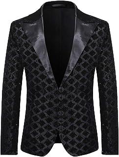 HOOUDO Men Blazer,Autumn Winter Sale Classic Slim Fit One Button V Neck Sequin Tuxedo Jackets Wedding Blazer Suit Jackets ...
