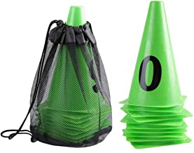 Suchinm Plastic Sport Training Traffic Cone, Green Soccer Training Cone Number 0-9 Football Barriers Marker for Indoor Outdoor Soccer Sports